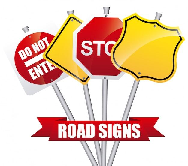 Дорожные знаки Premium векторы