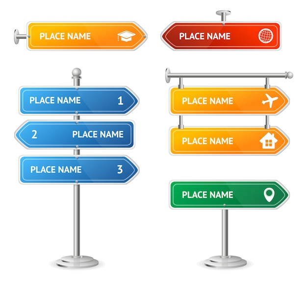 Road and street color sign set guide direction. vector illustration