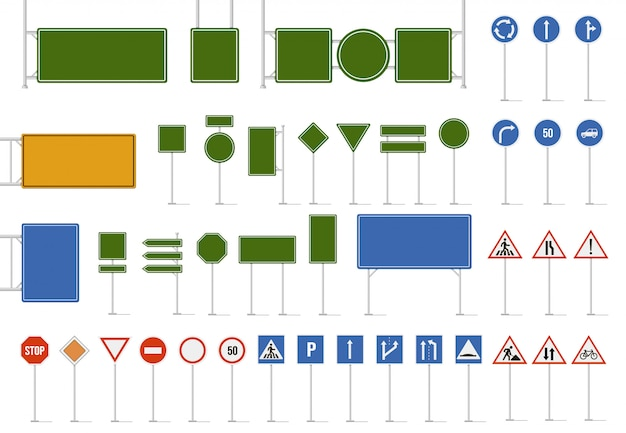 Road street sign. direction traffic signs, danger warning and direction traffic road sign. regulatory and guide character symbols, highway blank limit signboards   icon set