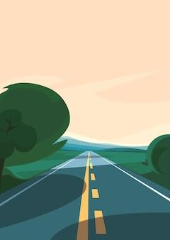 地平線に伸びる道。縦向きの屋外シーン。