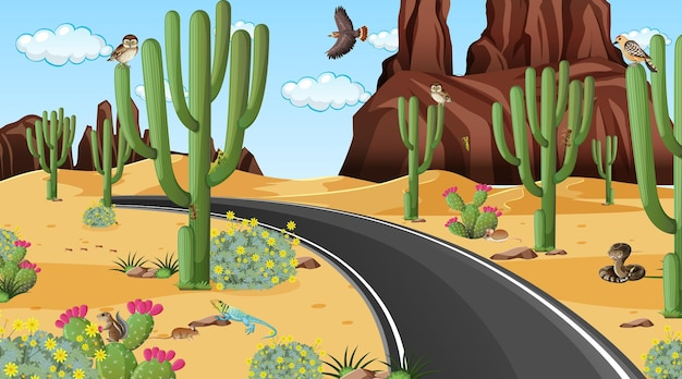 Road through the desert forest landscape scene with desert animals