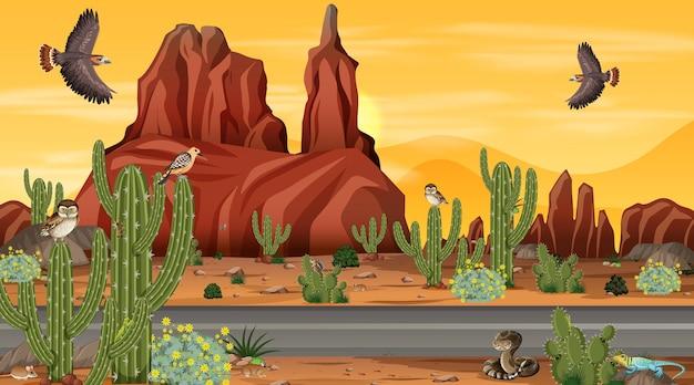 砂漠の動物がいる砂漠の森の風景シーンを通る道