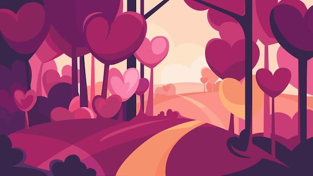 심장 모양의 나무와 숲을 통과하는 길