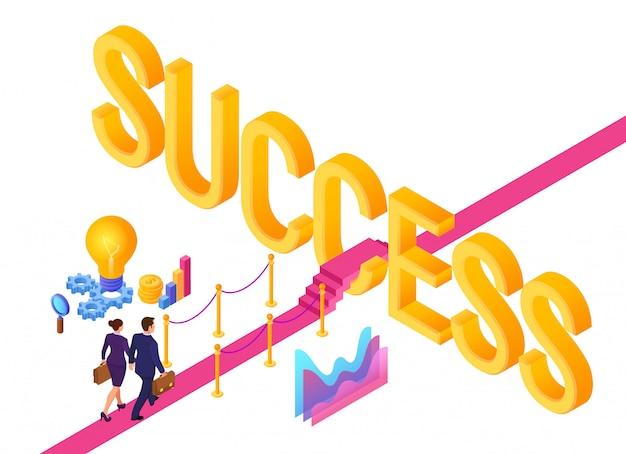 成功への道。ビジネスマンやビジネスウーマンのブリーフケースを手に成功にレッドカーペットの上を歩きます。