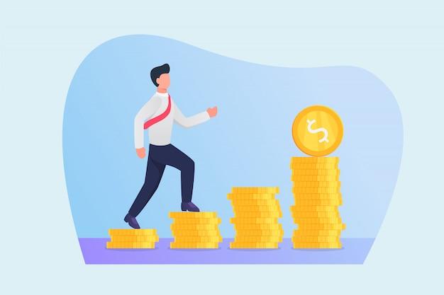 Путь к успеху концепции с бизнесменом, идущим, чтобы шагать финансовым ростом денег