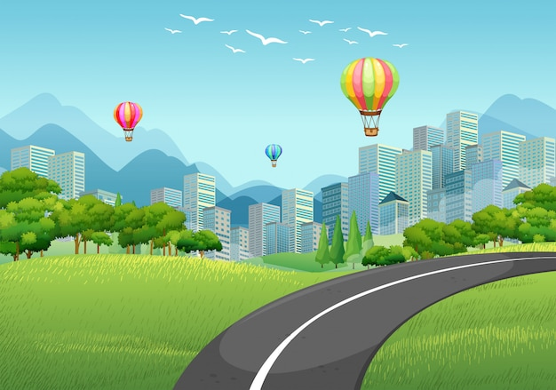 建物がいっぱいの街への道