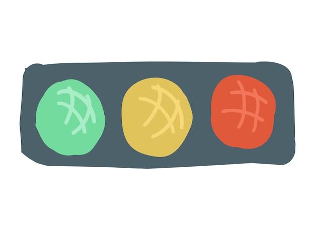 Road traffic light style cartoon simple hand drawing vector illustration