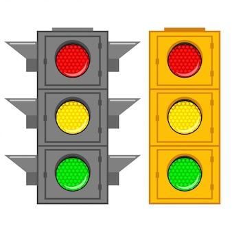 Дорожный светофор с зеленым, красным и желтым сигналом Premium векторы
