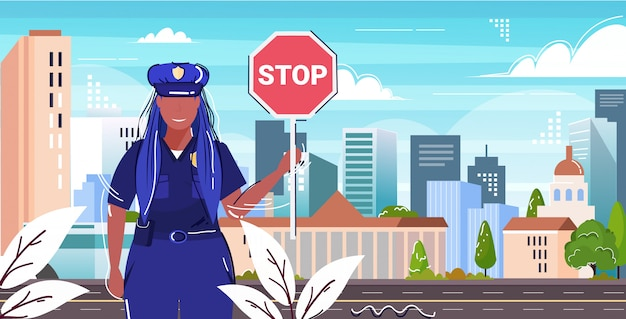 Road traffic police inspector holding stop sign policewoman officer in uniform security authority justice law service concept flat portrait cityscape