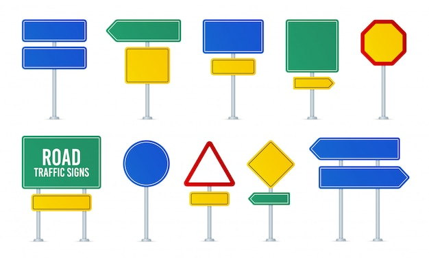 Road traffic signs set. direction arrow, information board. attention traffic signs