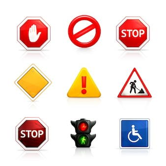 Road and traffic signs set