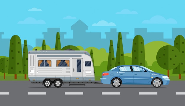 車とトレーラーの道路旅行チラシ