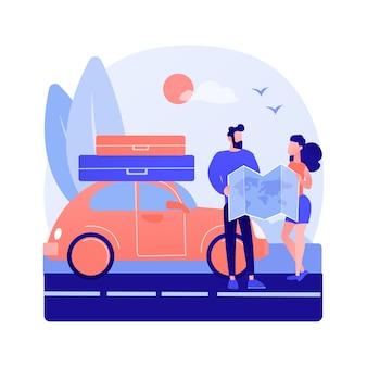 Illustrazione di concetto astratto di viaggio su strada