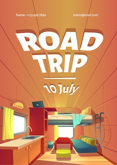 Road trip ad poster with camping trailer car interior