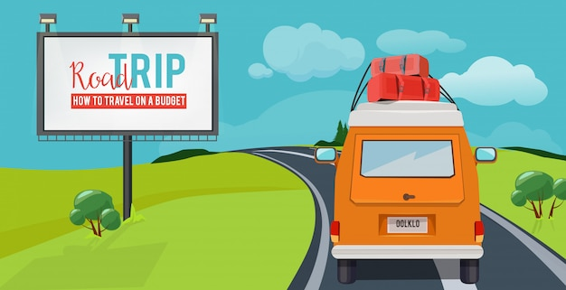 Дорожное путешествие. концепция приключения с путешествия на каникулах вождения автомобиля на шоссе вектор городской пейзаж мультфильма