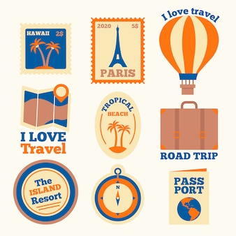 Road trip around the world stickers collection