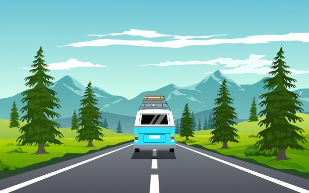 Road trip on camper van with mountain background