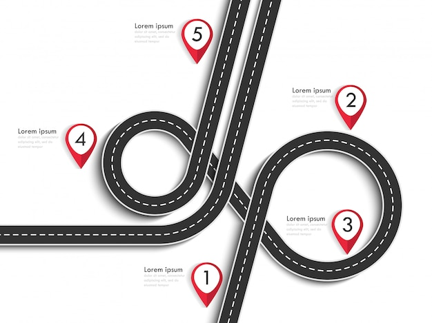 Road trip and journey route on white