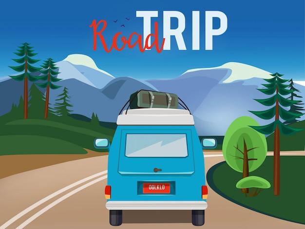 Дорожное путешествие. движущийся автомобиль на дороге летний пейзаж фон сельской местности приключения мультфильм иллюстрации