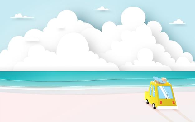 종이 아트 스타일과 파스텔 색 구성표 벡터 일러스트와 함께 해변에서 여행