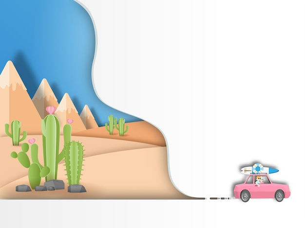 砂漠の背景を旅するロードトリップ