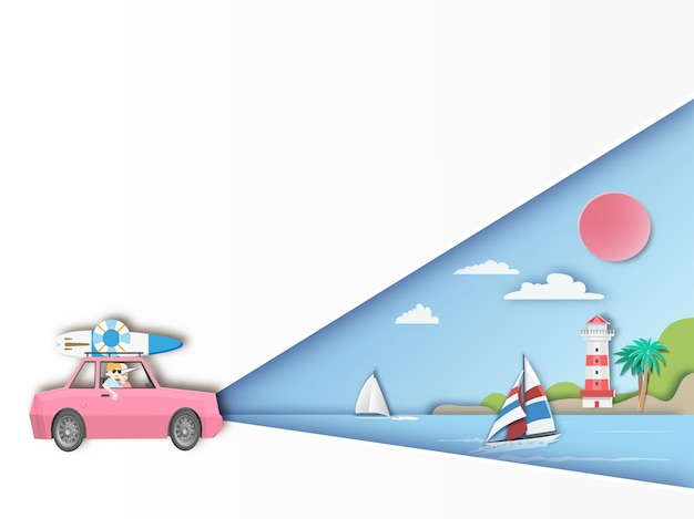 Road trip to travel on beach  background