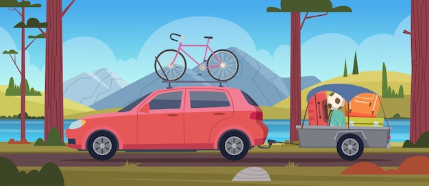 Road trip vacation. travellers family in car with luggage adventure minivan cartoon background