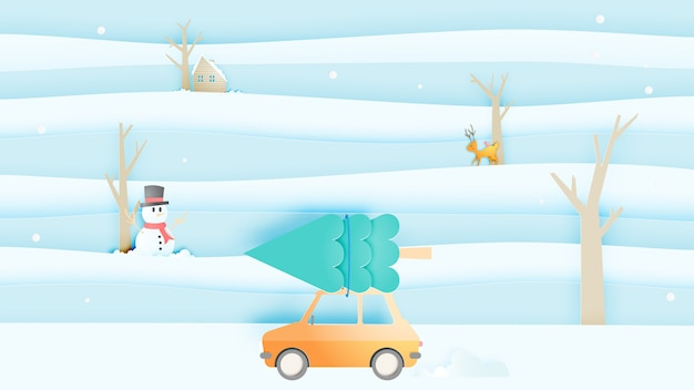 Road trip and winter landscape with paper art style and pastel color scheme