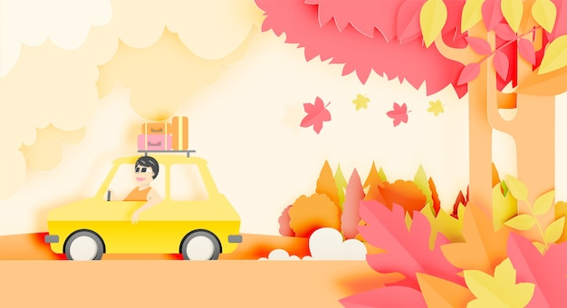 Road trip with car and natural autumn pastel color scheme background paper cut style