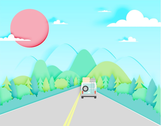 Road trip with car and natural pastel color scheme background paper cut style vector illus