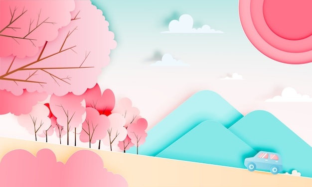 Road trip with car in spring season and natural pastel color scheme background paper cut style vector illustration