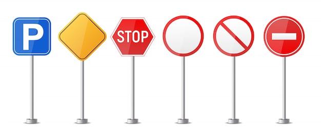 道路警告標識、ホワイトバックグラウンドコレクションセットに分離された交通規制テンプレート。図