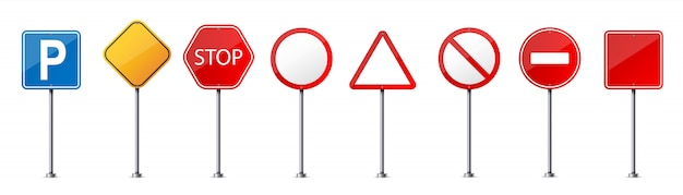Road warning sign, traffic regulatory template.