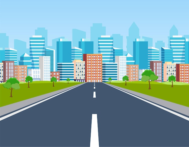 Road way to city buildings on horizon.