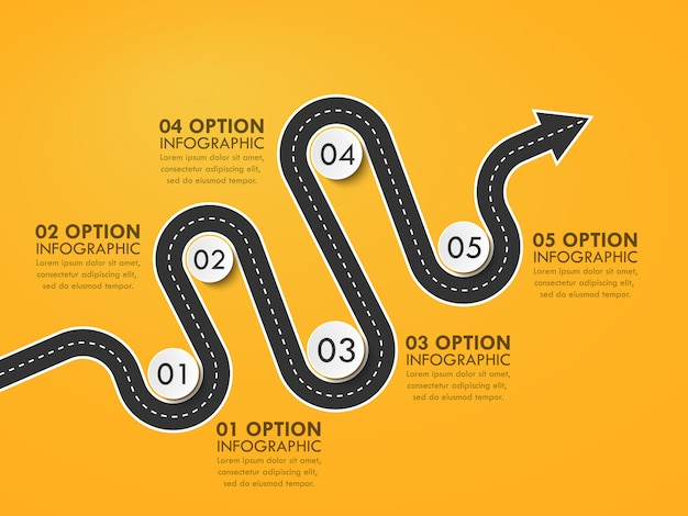 Road way location infographic template with a phased structure