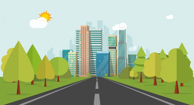수평선 벡터 일러스트 레이 션 평면 만화에 도시 건물 도로 방법 또는 고속도로