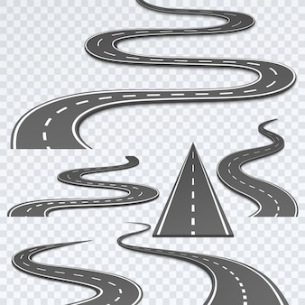 Road with white stripes on a plaid background.