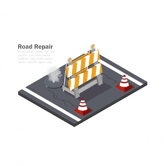 Road work, low-polygon drawing,   illustration, isometric graphics