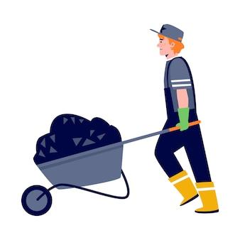 Дорожный рабочий, несущий тележку с асфальтом в плоской векторной иллюстрации стиля