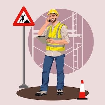 Дорожный рабочий. подробные векторные иллюстрации с плоскими элементами. стиль поп-арт.