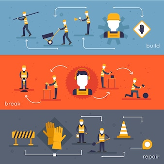 Road worker flat banner set with characters, break repair build isolated vector illustration