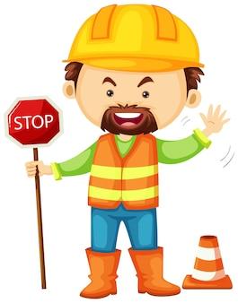 一時停止の標識を保持している道路労働者