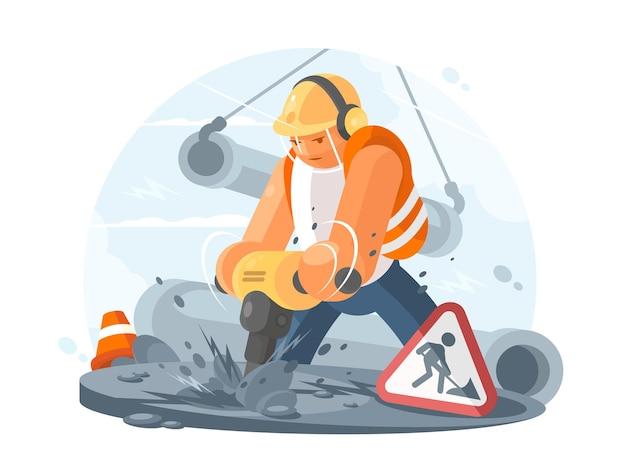 Дорожный рабочий в шлеме с перфоратором. строительные работы. иллюстрация