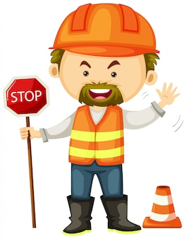 Road worker with stop sign