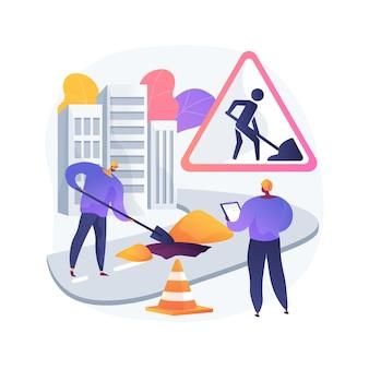 Illustrazione di concetto astratto di lavori stradali