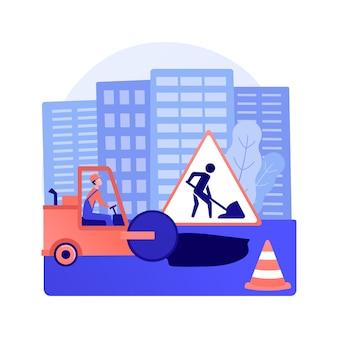 道路工事抽象的な概念ベクトルイラスト。道路の建設と修理、制限された運転条件、一部高速道路の閉鎖、工事による迂回路、制限速度標識の抽象的な比喩。