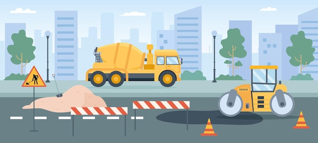 Road works. pavement repair with asphalt roller, concrete mixer and street barriers. city roads maintenance service machines vector concept. illustration repair road, industry construction