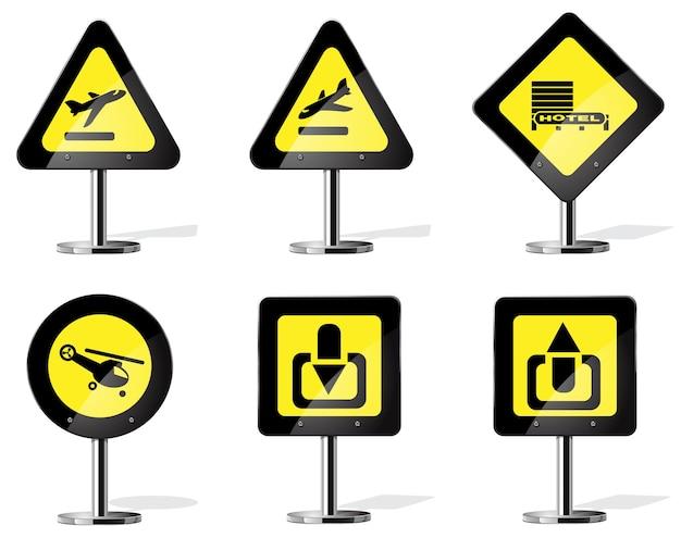 Road yellow warning sign