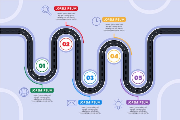 Инфографический шаблон дорожной карты