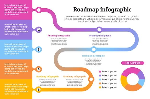 ロードマップインフォグラフィックテンプレート